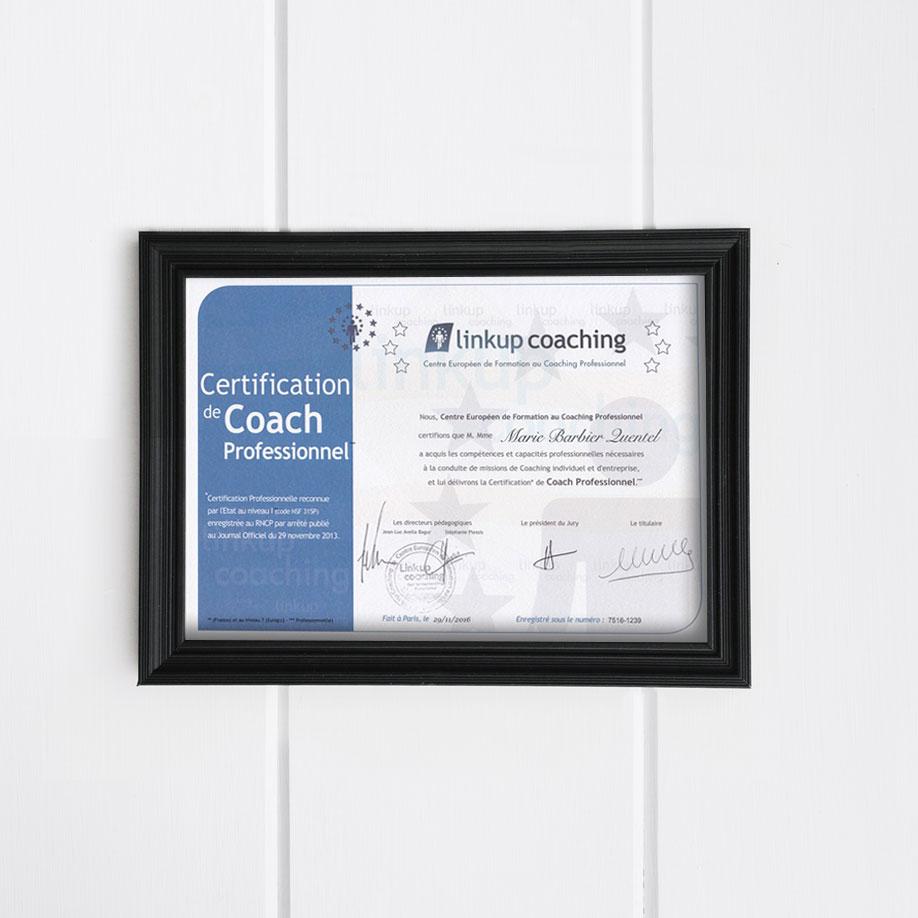 Certification de coach professionnel Linkup Coaching Marie Barbier