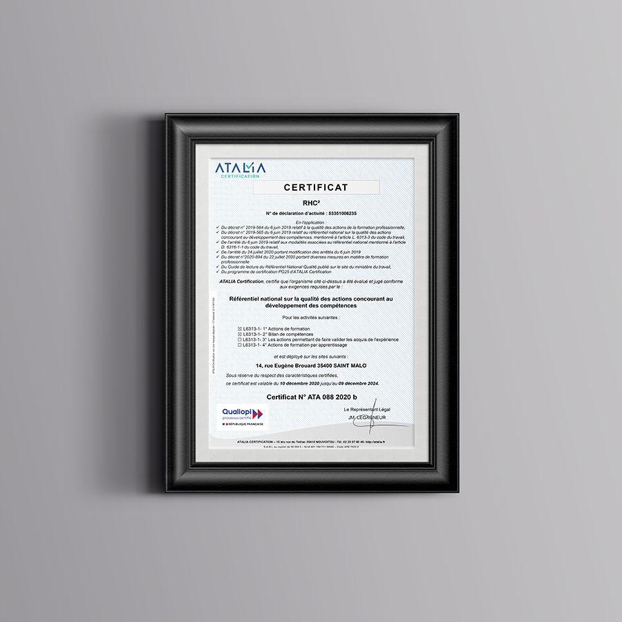 Certificat Qualiopi Référentiel National sur la qualité RHC²